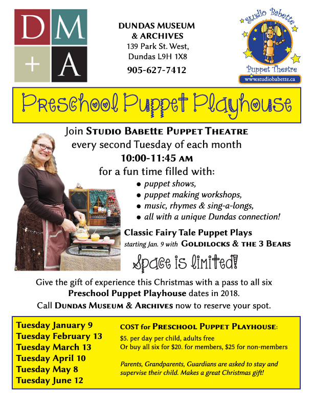 Studio Babette and Dundas Museum and Archives present Preschool Puppet Playhouse